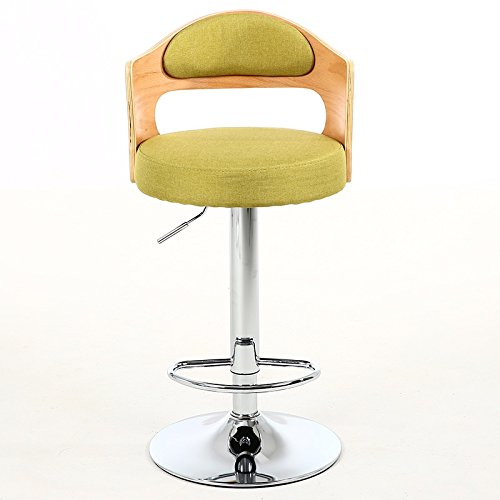 Green NNN- Chair Retro Iron Chair redating Bar Stool Armchair, Stool Restaurant Creative Wood color Wooden Back Dining Chair, Cotton Linen Cushion, Electroplating Chair Legs (color   Beige)