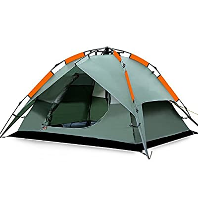 FiveJoy® Instant 3 Person 3 Season Dome Tent - Double-Wall Two-Door Bathtub Floor Freestanding - Set Up and Tear Down in Just Seconds