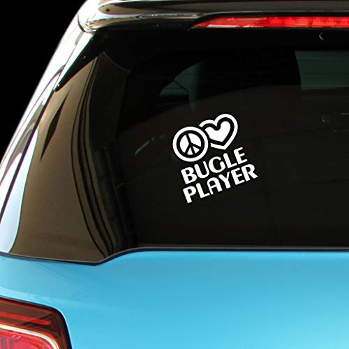 PEACE LOVE BUGLE PLAYER Music Car Laptop Sticker Decal