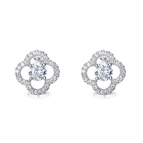 CDE 18K White Gold Plated Stud Earrings Clover Clear Crystal Flower Earring Women Fashion Jewelry