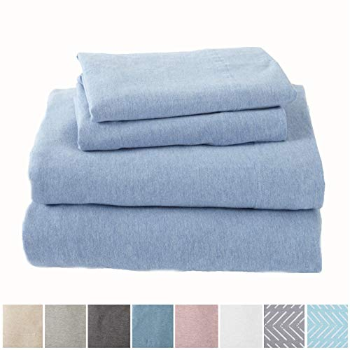 Great Bay Home Extra Soft Heather Jersey Knit (T-Shirt) Cotton Sheet Set. Soft, Comfortable, Cozy All-Season Bed Sheets. Carmen Collection Brand. (King, Sky Blue) (Sheets King Size Jersey Cotton)