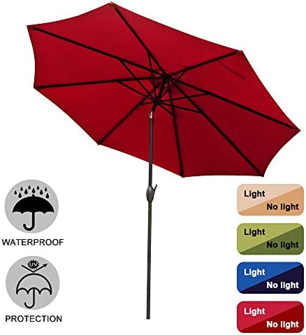 9ft Patio Umbrella Anti-UV Rain Polyester Waterproof Oxford Cloth Material Umbrella Anti-discoloration Outdoor Party Rest Essential Market Umbrella Red