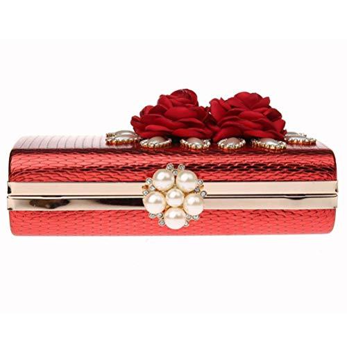 Petit De Pochettes Mode Soirée Sacs Fête Et Femmes Mariage Gshe Mini Pochettes Fleur À Red Chaîne À Sachet Sac Sangle avec pour Sac Main Main De Bag PwqEIcp
