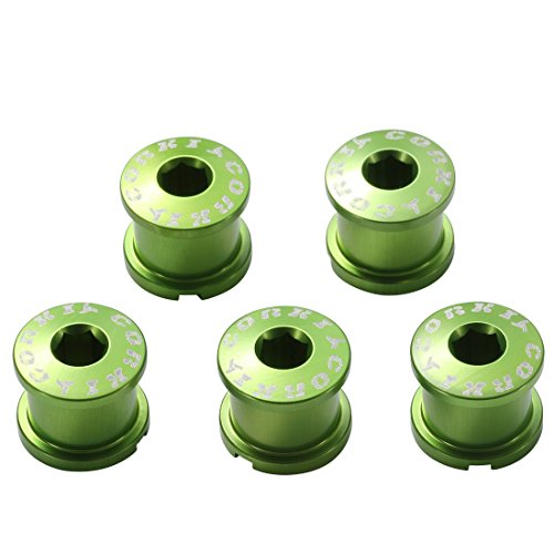 (Corki Double Chainring Bolts Kit 7075 Alloy M8 Green 5-Pack)