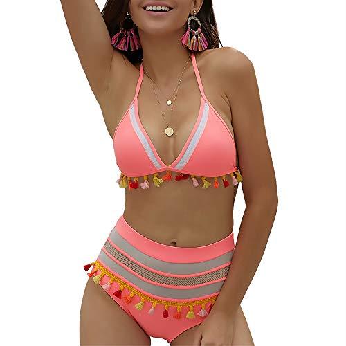 - Exlura Women's Triangle Bikini Set High Waist Two Piece Tassel Swimsuit Halter Straps Stripe Swimwear