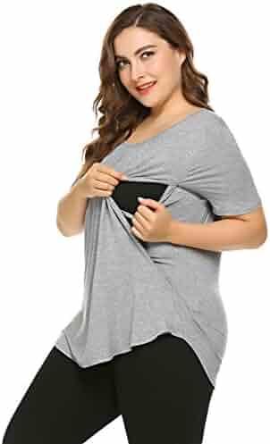 0f77fa90e4 Skylin Cotton Tops Women Plus Size Casual Short Sleeve Maternity Nursing  Breastfeeding T-Shirt S