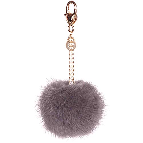 CANNISHOP Mink Fur Ball Pom Keychain Bag Purse Charm Pendant Keyring (Light grey)