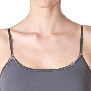 Plain Long Spaghetti Strap Tank Top Camis Basic Camisole Cotton, Dark Gray, Small