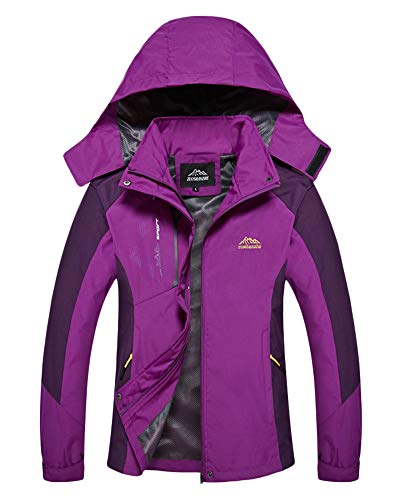 AnyuA Plus Size Unisex Softshell Womens Jacket Mens Outdoor Coat with Detachable Hood Women Purple