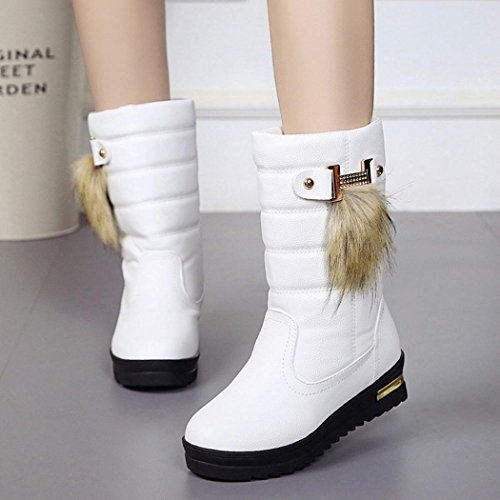 Amiley Hot Sale Womens Winter Shoes Warmful Women Winter Boots Mid Calf Snow Boots White IUjWd8