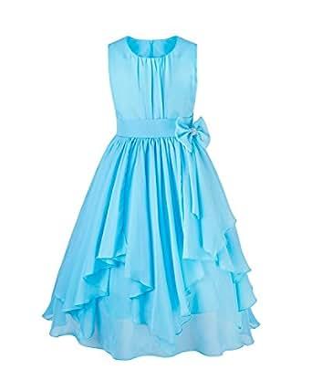 Freebily Vestido de Boda Bautizo Fiesta Graduación para Niña Dama de Honor Vestido Princesa Infantil Azul 4 Años