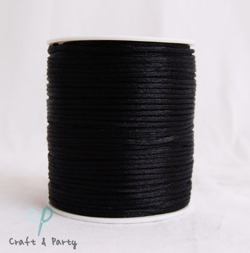 Silk Cord (Black 2mm x 100 yards Rattail Satin Nylon Trim Cord Chinese Knot)