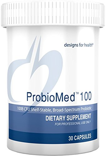 Designs for Health Probiomed 100 - High Potency 100 Billion CFU Probiotic Capsules, Shelf Stable Probiotics (30 Capsules)