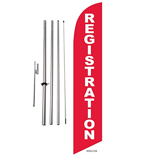 Registration (red) Feather Banner Swooper Flag Kit - Includes Pole Kit and Ground Spike ()