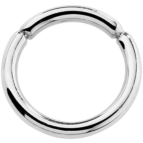 14K White Gold Segment Nose Hoop Nipple Eyebrow Labret Lip Ring Tragus Cartilage Earring 16G 1/4