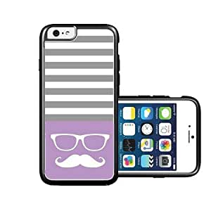 RCGrafix Brand Hipster-mustache Violet & Grey Stripes White iPhone 6 Case - Fits NEW Apple iPhone 6