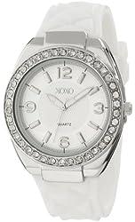 XOXO Women's XO8051 Rhinestones Accent White Strap Analog Watch