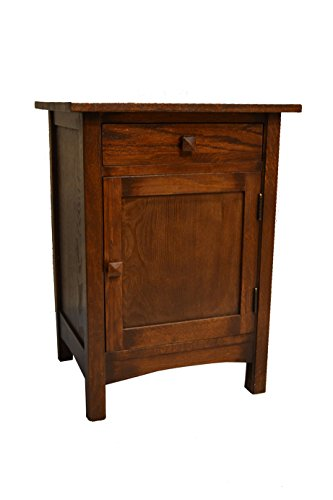 Solid Oak Bedside Table (Crafters & Weavers Arts and Crafts Mission Nightstand End Table Made With Solid Oak)