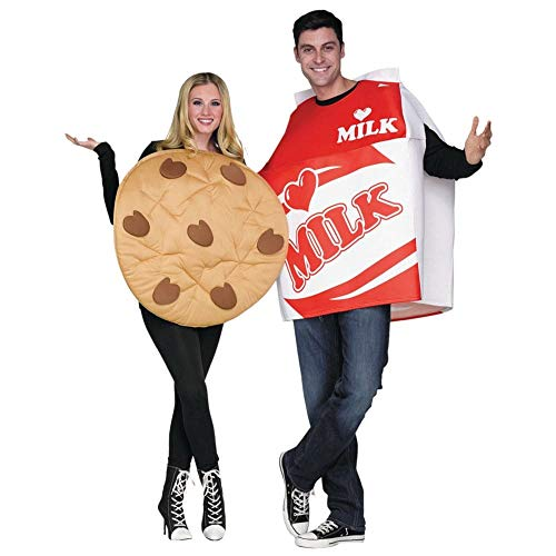 Fun World Unisex Cookies & Milk Adult Cstm, Mulricolor, (Halloween Cute Costumes For Couples)