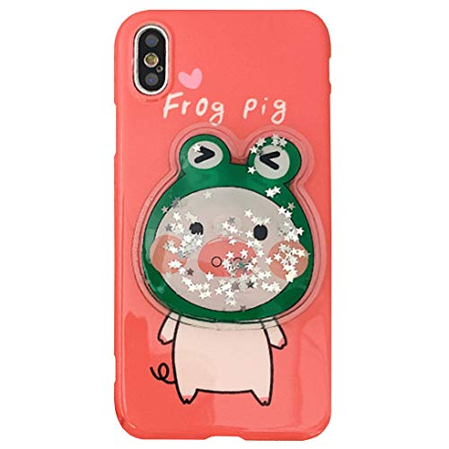 - SGVAHY Cute Case for iPhone 7 Plus, Creative Fun 3D Cartoon Pig Design Bling Sequins Liquid Decompress Case Soft Silicone Protective Case for iPhone 8 Plus (Frog Pig, iPhone 7 Plus / 8 Plus )