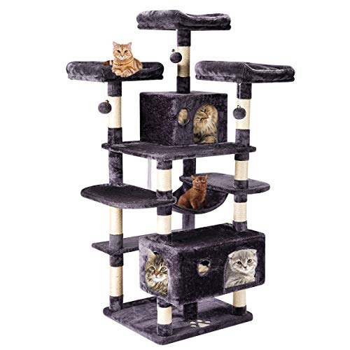 Mellcom 63' Large Cat Tree Tower Condo with Cat Scratching Post Cozy Hammock Hideaway House and Platforms,Kitty Activity Center Kitten Play House, Multi-Level Cat Tower Furniture (Dark Grey)