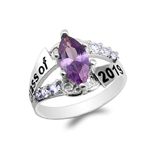 JamesJenny White Gold Plated Graduation Class of 2019 School Ring with 1.25ct Purple Marquise CZ Size 7