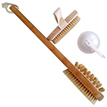 """20"""" (51cm) Long Handle Bamboo Body Brush, with Hand Brush & Hook by bathique – Dry Brush Anti Cellulite Skin Care"""