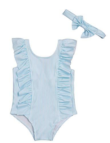 Swimsuit Ruffle One Infant Piece (Baby Girl Bikini Striped Beach Swimsuit Ruffles Bathing Suit Swimwear+Headband 2 Pcs Set(100/12-18 Months) Blue)