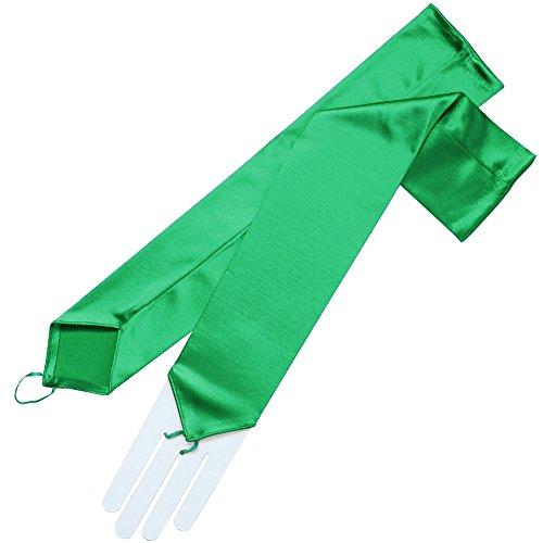ZaZa Bridal Stretch Satin Fingerless Gloves Opera Length 16BL-Kelly Green