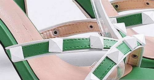 Mujer Europa De 9 Suela Redondos Tacón Cuero Tacones Cm Sandalias Green Aguja Goma Tacones 5 Alto SwBdq705