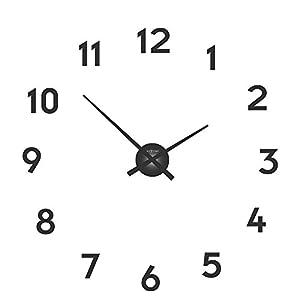 """NeXtime Reloj de pared  """"SMALL HANDS"""", agujas de aluminio, números para pegar, negro 7"""