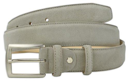 Pasquale Cutarelli Mens Plain Dress Italian Suede Leather Belt (7032) Beige 32 (Mens Beige Italian Suede)