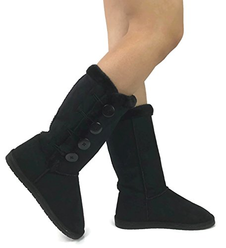 Womens Warm Lined Boots (Studio D Womens Trish Soft Fur Lined Warm Winter Boot Mid Calf Faux Suede Girls, Black Tall, 8)