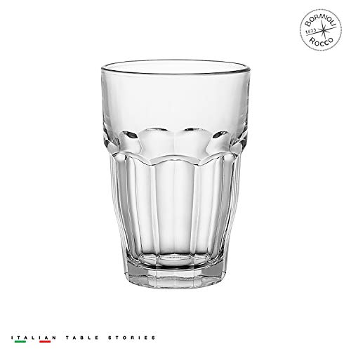 Stackable Glass (Bormioli Rocco Rock Bar Stackable Beverage Glasses – Set Of 6 Dishwasher Safe Drinking Glasses For Soda, Juice, Milk, Coke, Beer, Spirits – 12.5oz Durable Tempered Glass Water Tumblers For Daily Use)