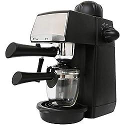 240ml SW-CRM2001 Semi-Automatic Espresso Coffee Machine Steam Type Overheat Overvoltage Protection Pause Function Coffee Maker,Black,EU