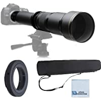 Elite Series 650-1300MM F/8-F/16 Super TelePhoto Zoom Lens with Manual Focus + T-Mount for Nikon D90, D300, D300S, D600, D610, D700, D7000, D7100, D1H, D2H, D2X, D3, D3S, D3X, D4 Digital SLR Cameras & More