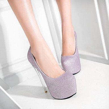 Talones de las mujeres Primavera Verano Otoño Invierno Otro boda sintético Fiesta y Noche Tacón de Aguja vestido púrpura gris plata Sliver