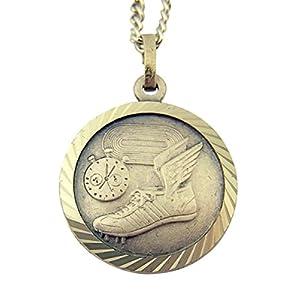 Nickel Silver Saint Christopher Athlete Sports Medal Pendant, 3/4 Inch