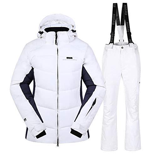 Skisuit 2019 Women Winter Fishing Mountain Ski Suit High Windproof Waterproof Snowboard Hoods Jacket and Pants Set White M