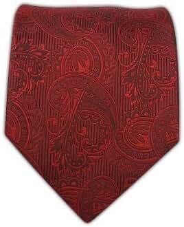 100% Woven Silk Crimson Twill Paisley Tie