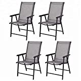 Leissu Folding Sling Chairs, Foldable Chairs, Camping Deck Chairs w/Armrest, Set of 4, Grey