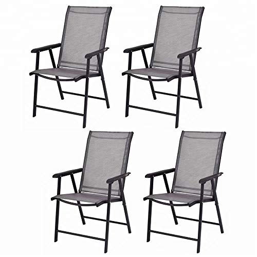 Leissu TZY-101 4-Pack Patio Folding Sling, Dining Chairs, D 26.8″ X W 23.2″ X H 37.4″ Grey