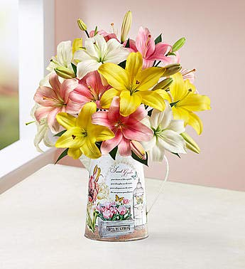 1800Flowers Sweet Spring Lilies Fresh Flower Bouquet with Garden Pitcher (Single Bouquet)