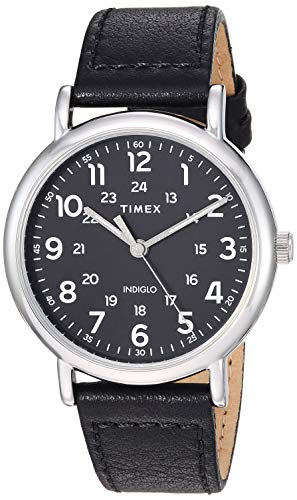 Timex Men's TW2T30700 Weekender 40 Black/Silver-Tone Two-Piece Leather Strap Watch