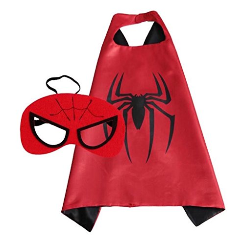 Superhero Halloween Party Cape and Mask Set for Kids Spiderman (Spiderman Reversible Costume)