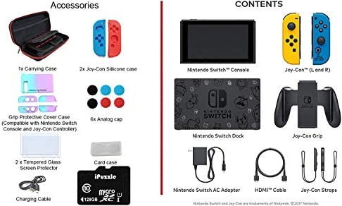 "Newest Nintendo Switch Fort nite Wildcat with Yellow and Blue Joy-Con - 6.2"" Touchscreen LCD Display, 32GB Internal Storage, 802.11AC WiFi, Bluetooth 4.1- iPuzzle 128GB SD Card + 11-in-1 Carrying Case"