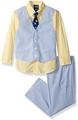 Boys Seersucker Suit - Nautica Boys' Toddler 4-Piece Formal Dresswear Vest Set, Seersucker Regatta Blue, 3T