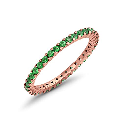 Blue Apple Co. Full Eternity Stackable Wedding Band Ring Rose Tone Simulated Green Emerald Cubic Zirconia 925 Sterling Silver - Tone Stackable