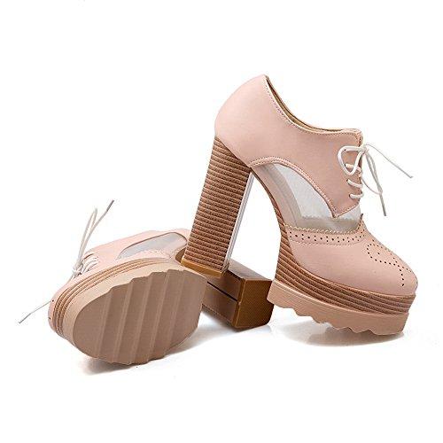 Ragazze Balamasa Scavano Fuori Il Modello Leopardato Ornamento Pizzo Mix Materiali Scarpe-scarpe Rosa