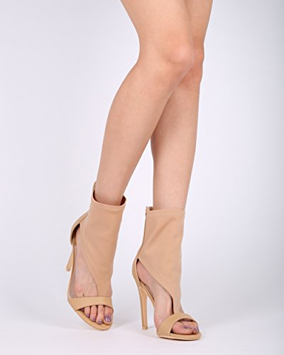 Sandalias De Punta Abierta Con Punta Abierta Mixta Alrisco Mujer - Hg84 By Mackinj Collection Beige Mix Media
